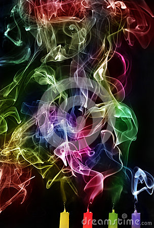 Free Extinguished Candles With Colorful Smoke Royalty Free Stock Photography - 44204017