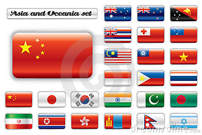 Extra glossy button flags - Asia and Oceania