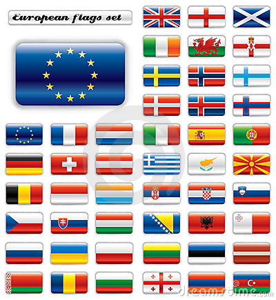 Extra glossy button flags - Europe