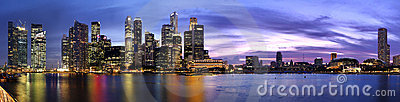 Extra large Panoramic pic of Singapore dusk Editorial Stock Photo