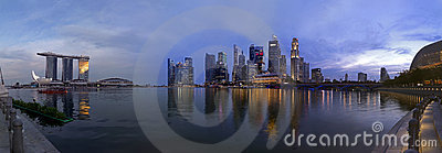 Extra large Paranoma pic of Singapore at dusk Editorial Image
