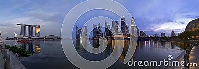 Extra large Paranoma pic of Singapore at dusk Editorial Image