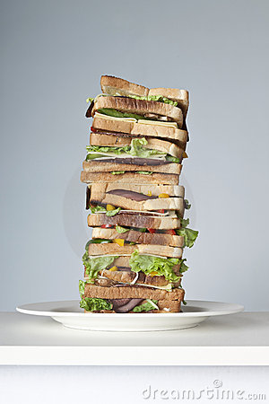 Extra large sandwich on a plate
