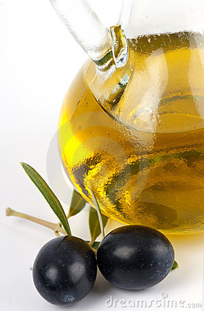 Free Extra Virgin Olive Oil With Black Olives. Stock Image - 17270631