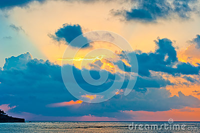 Extraordinarily beautiful sky at sunrise over calm sea