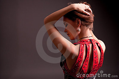 Extravagant woman in dress