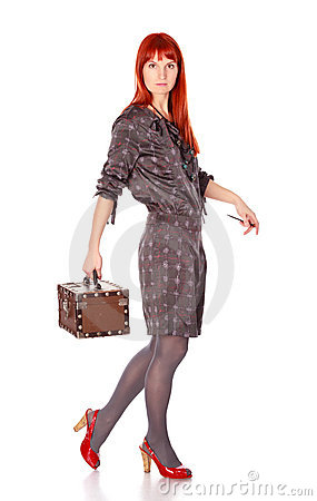 Extravagant Woman With Suitcase