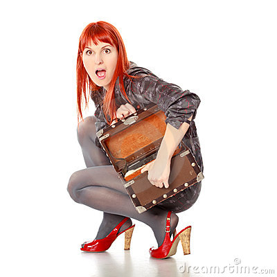 Extravagant Woman With Suitcase Screams
