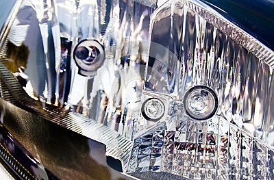 Extreme Abstract Closeup of Vehicle Headlamp
