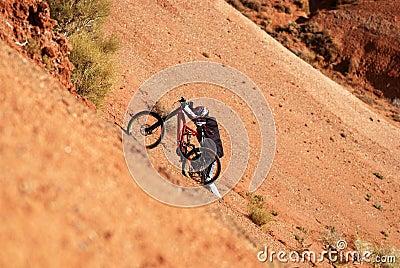 Extreme biker uphill