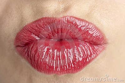 Extreme Close-Up Of Middle Aged Woman s Lips