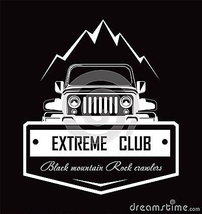 Free Extreme Club Black Mountain Rock Crawlers Promo Logotype Stock Image - 118754511