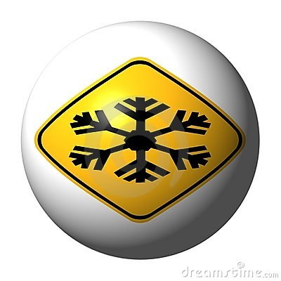Extreme cold warning sign sphere