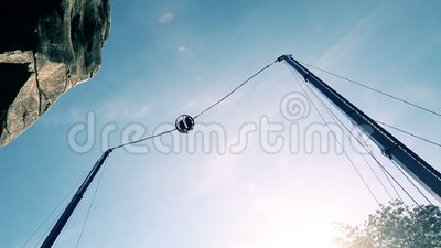 The extreme flying attraction. Big catapult, shooting with bravemen stock video