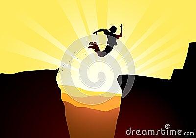 Extreme jump against a rising sun