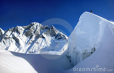 Extreme mountain climbing in Himalaya, Asia.