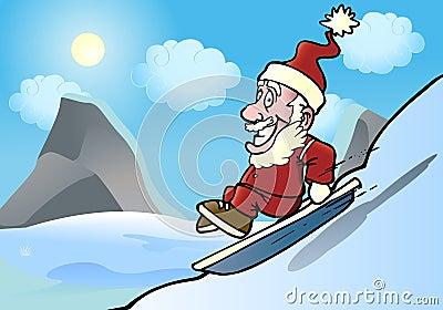 Extreme santa snowboarder