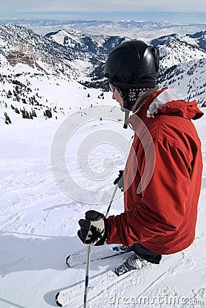 Extreme skier at amazing ski resort