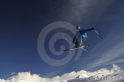 Extreme skier jumping.