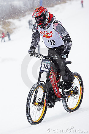 Extreme snow mountain biking Editorial Image