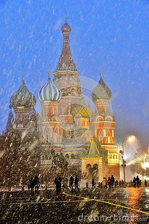 Free Extreme Snowfall On The Red Square In Moscow. Stock Images - 141907264
