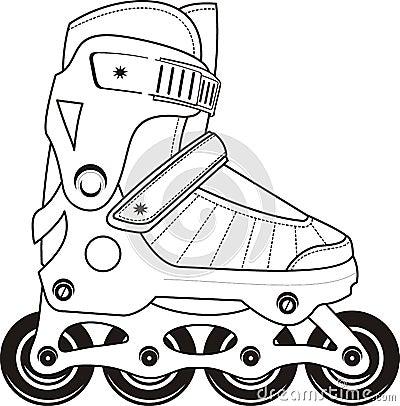 Extreme Sports Roller Skates - vector contour