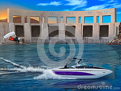Extreme Wakeboarder and speedboat - digital artwork