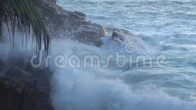 The impact of the waves on the cliffs or shoreline  stock footage