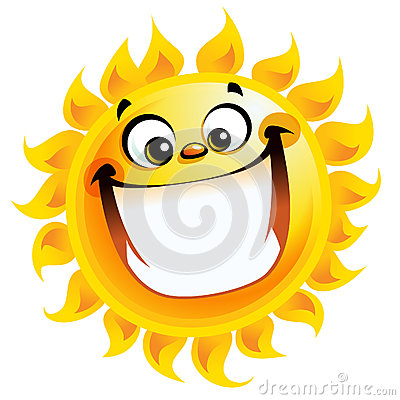 Extremely happy cartoon yellow sun excited character smiling