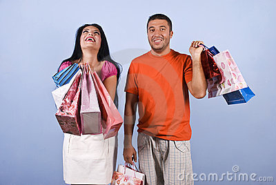 Extremely happy woman at shopping