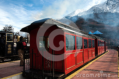 Extremidade do trem do mundo, Tierra del Fuego, Argentina Foto de Stock Editorial