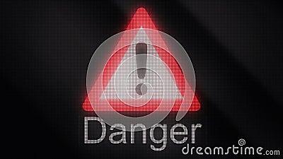 Extrus?o da anima??o do s?mbolo do perigo Sinal do cr?nio, sinal do perigo nuclear, sinal dos avisos Anima??o de advert?ncia de M ilustração do vetor