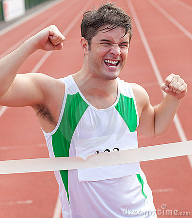 Exulting sprinter showing expression of victory