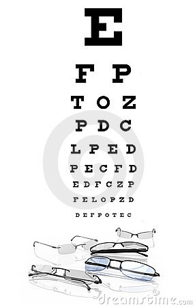 Eye chart with  eyeglasses