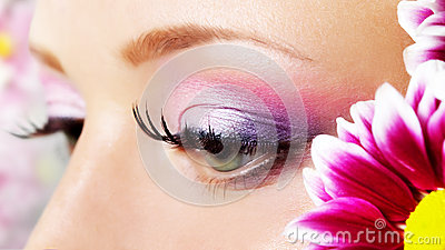 Eye closeup with makeup.