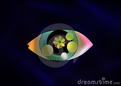 cartoon Eye with a flower inside it
