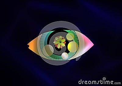cartoon Eye with a flower inside it