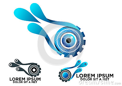 Eye gear and water logo, concept water splash vision technology icon design in a set Vector Illustration