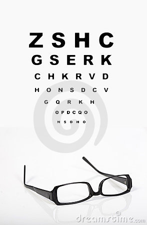 Eye glasses and test chart