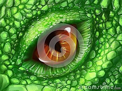 Eye of a green dragon Stock Photo