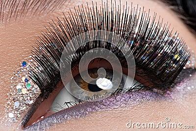 Eye with long black false eyelashes and  creative fashion makeup