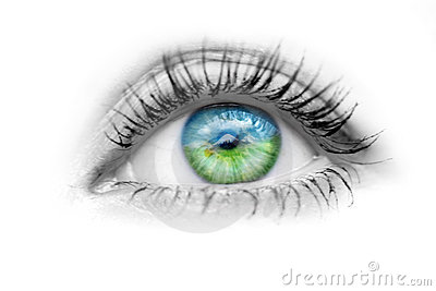 Eye with nature in the eyes Stock Photo