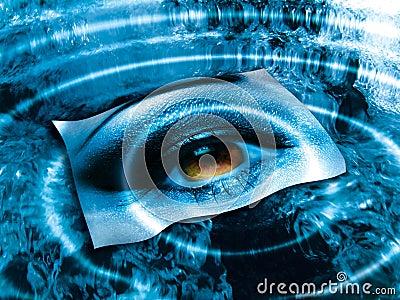 Eye over blue