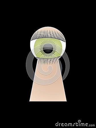 Eye peep at key hole