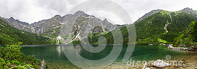 Eye of the Sea lake in Tatra mountains panoramic