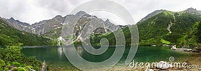 Eye of the Sea lake in Tatra mountains panoramic