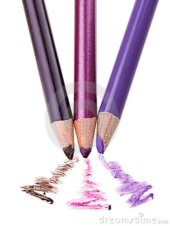 Eye shadow makeup pencil with stroke sample