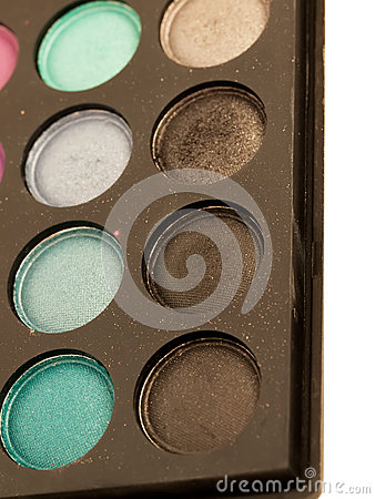 Eye shadows palette close-up