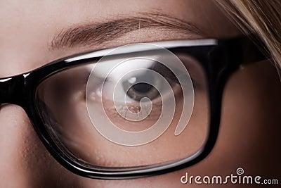 Eye shot through glasses