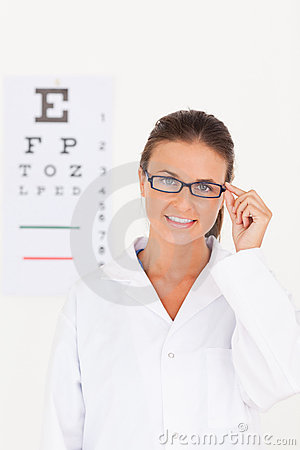 Eye specialist wearing glasses
